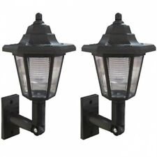 More details for 2x solar garden lantern – outdoor led wall light outside coach lamp traditional