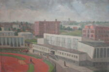 Vintage Social realism oil painting cityscape