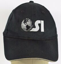 Black OSI Globe logo SI? embroidered baseball hat cap adjustable
