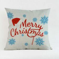 """Case Gift Pillow Home Cover Cotton Throw Linen 18"""" Christmas Cushion Décor"""