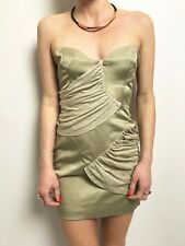SASS & BIDE KHAKI DRAPE DETAIL STRAPLESS BONED BODICE MINI DRESS LINEN DRAPE 8