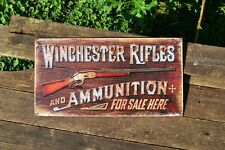 Winchester Rifles and Ammunition For Sale Tin Metal Sign - M1866 Yellow Boy