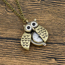 Vintage Owl Clock Necklace Retro Pocket Watch Pendant Women Mens Jewelry Chain
