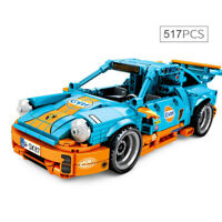 517pcs Technic Orange Blue 911 Race car Sports Model Building Blocks Set Toy DIY
