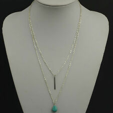 Silver Chain Turquoise stone Bohemian Boho Multi Layer Party Statement Necklace