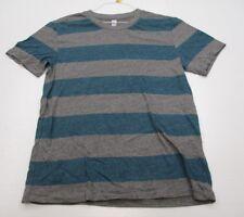 ALTERNATIVE #T3521 Men's Size XL Cotton Short Sleeve Gray/Blue Striped Shirt