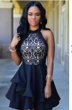 NEW Sexy Black Lace Layered Skater Boutique Dress SIze 14/16