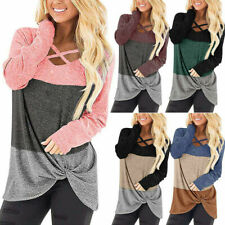Women Long Sleeve V Neck T Shirt Casual Stitching Color Blouse Loose Tunic Tops