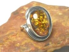 Adjustable  AMBER  Sterling  Silver  925  Gemstone  RING  -  Sizes M - P