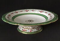 Antique Compote Gold Hand Painted Roses Green Band Pedestal Centerpiece