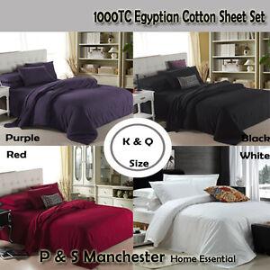AUS Size 1000TC Egyptian Cotton Fitted Flat Pillowcases Bedding Sheet Set