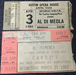 Al Di Meola 2 Concert Ticket Stub Lot 1982