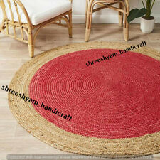 "5""Feet Red Indian Braided Jute&Cotton Floor Round Rug Purely Handmade Natural"