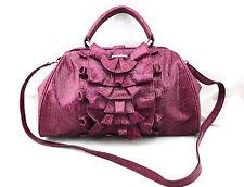 JESSICA SIMPSON Fuchsia Purple Faux Croc Leather Ruffle Frame Cross Satchel Bag