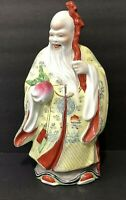 """VTG/Antique Asian Oriental Mudmen Lohan Wise Old Man 12""""in ceramic porcelain art"""