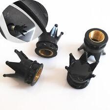 Black Car Cover Cap Imperial King Crown Tyre Tire Wheel Valve Stems Air Dust