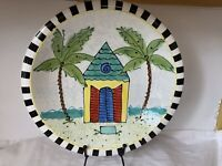 "Caroline Forbis 2003 10 1/2"" Bowl Palm Trees & Hut By The Sea"