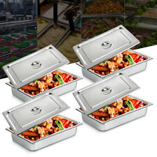 4pack 4deep Full Size Stainless Steel Steam Table Pans Lids Hotel Food Prepnew