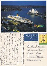 1990's QE II MOORED AT CIRCULAR QUAY SYDNEY NSW AUSTRALIA COLOUR POSTCARD