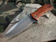 "8"" Elk Ridge Folding Pocket Knife Spring Assisted Brown Wood Hunting A160SW"