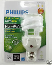 Lot 4 Philips Energy Saver Fluorescent Dusk-to-Dawn 14-Watt Twister Light Bulb