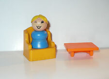 VINTAGE FISHER PRICE LITTLE PEOPLE WOOD LADY, CHAIR & TABLE VGC