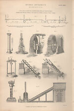 1874 PRINT ~ HYDRO-DYNAMICS HYDRAULICS WATER SUPPLY CONDUIT WATER WHEEL