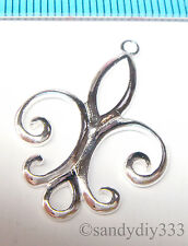1x STERLING SILVER FLOWER CHARM PENDANT CONNECTOR 28mm #1042