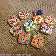 Square Retro Craft Buttons. 16mm. 10 Pack. Wooden Button. Scrapbook. Patterned.