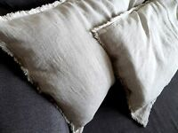 Linen Fringe Pillowcase natural linen pillow case with Frayed Edges rustic linen