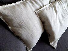 Linen Fringe Pillowcase natural linen pillow case with Frayed Edges rustic linen