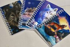 4 Mixed 3D Wolf Design Blank Notebooks - Lisa Parker Design - Omni New Age