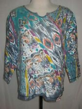 City Blues Medium Top Pullover Stretch Long Sleeves Water Color Design