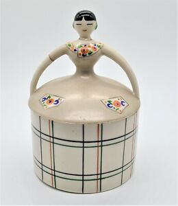 VINTAGE ART DECO PORCELAIN POWDER BOX LADY IN CHECKERED