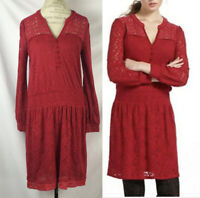 Anthropologie Leifnotes Red Floral Field Day Peasant Crochet Lace Dress Size M