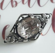 Antique Solid Sterling Silver Rock Crystal Quartz Brooch Vintage Jewellery