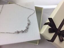New 14k Solid White Gold  Diamond Flower Necklace Perfect  Gift