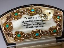 Original Art Nouveau 9ct Rose Gold Curb Link Bracelet with Turquoise Cabouchons