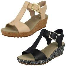 Buckle Wedge Leather Sandals & Flip Flops for Women
