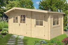 Lagerware ! 34 mm Gartenhaus 4,5x3 mit Anbau Gerätehaus Blockhaus Holz Schuppen