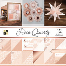 "PS005561 DCWV Paper Stack Double-Sided 12""X12"" -Rose Quartz, 12 W/Rose Gold Foil"