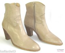 JANIE PHILIP - BOTTINES BOOTS TALONS 8 CM CUIR MARRON CLAIR 40 - EXCELLENT ETAT