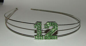 12 Headband Green Crystal Accents New Silver Tone Hair Decoration Jewelry
