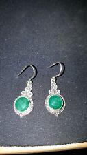 Shivam Made in India .925 Sterling Silver Green Beryl  Earrings  - NEW