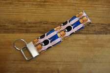 Handmade fabric key fob ring wristlet bag charm pink with soldiers palace guards