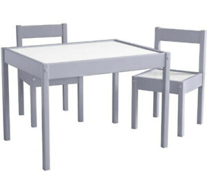 Baby Relax 3-Piece Kiddy Table & Chair Kids Set, Gray / White New Open Box