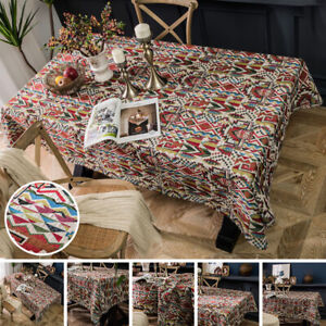 Geometric Tablecloth Cotton Linen Rectangle Party Dining Desk Table Cloth Cover