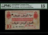 Great Britain:P-348b,10 Shillings=60 Para,1915 * GALLIPOLI NOTE * PMG F 15 *