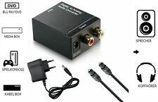 Digital Audio Konverter Wandler Toslink Koaxial auf Analog L/R Adapter & Kabel