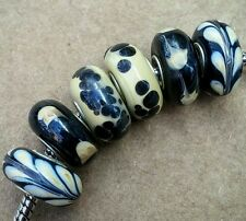 Gold Sand Leopard Print Black Earth Tone Single Core Murano Glass European Beads